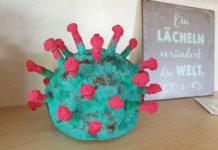 DIY Coronavirus Skulptur aus Pappmaché mit Mehlkleber